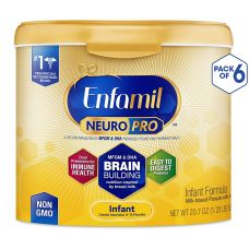 Enfamil NeuroPro Baby Formula-Omega 3 DHA, Non-GMO, MFGM, Probiotics, Iron & Immune Support Milk Powder Reusable Tub 20.7oz. (6 Pack)-Brain Building Nutrition